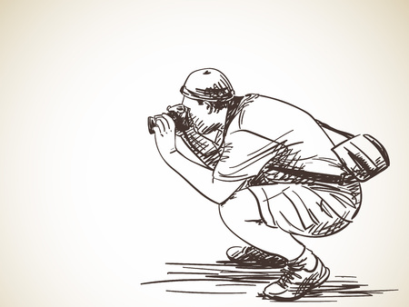 Sketch of photographer with photo camera, Hand drawn vector illustration