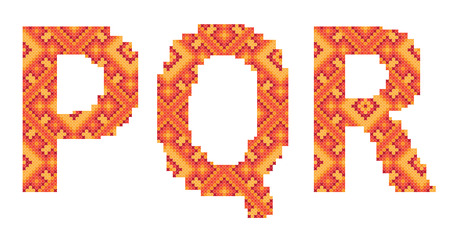 cross-stitch folk ornament letters P Q R Ilustracja