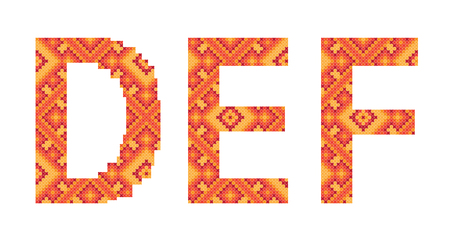 cross-stitch folk ornament letters D E F