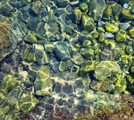 Green rounded stone bottom seen through clear water in sea