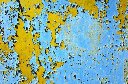 Old grunge colorful shabby metallic wall texture Banco de Imagens