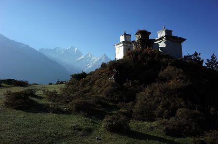 Buddhist stupas in Himalaya mountains in morning light, Sagarmatha national park, Khumbu valley, Nepal