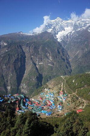 Remote Namche Bazaar village in Himalayas mountains, Sagarmatha national park, Khumbu valley, Himalayas
