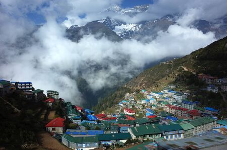 Remote Namche Bazaar village in Himalayas mountains, Sagarmatha national park, Khumbu valley, Himalayas Banco de Imagens - 127346507