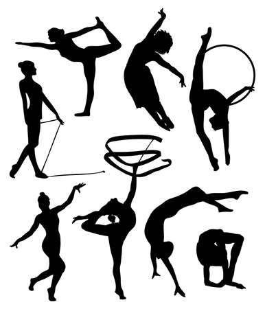 set of gymnastic silhouette. vector