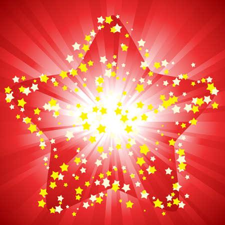magic red star background Illustration