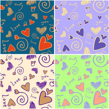 Seamless love background in different colours Ilustração