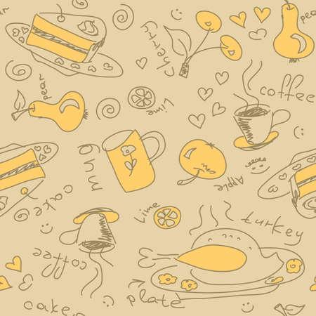 Seamless pattern with food Ilustração