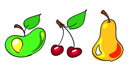 vector illustration. apple, cherry, pear Ilustração