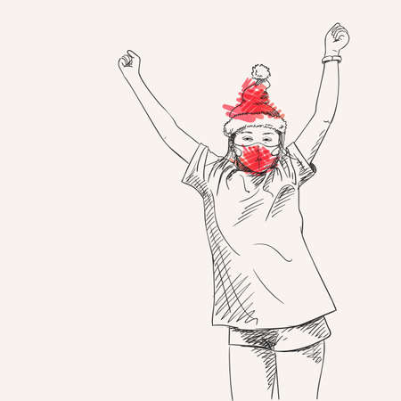 Christmas at Coronavirus illustration. Dancing preteen girl in red face mask and santa hat, Happy celebrating Christmas and New Year, Covid quarantine hand drawn people new normal, Vector sketch Illusztráció