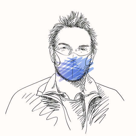 Man in face mask for coronavirus prevention, Covid-19 pandemic quarantine people portrait looking straight, Hand drawn illustration, Vector sketch