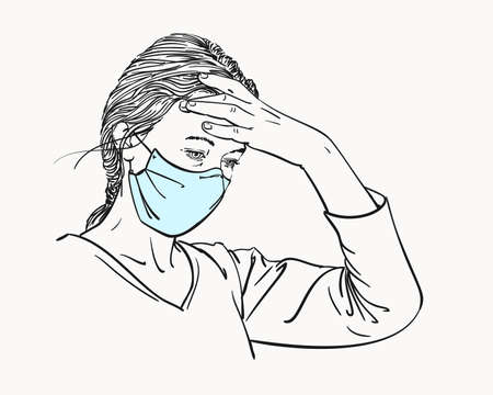Sketch of woman portrait in medical face mask has headache holding hand on her forehead, coronavirus pandemic problem, Hand drawn vector illustration isolated