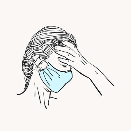 Sketch of young woman portrait in medical face mask has headache holding hand on her forehead, coronavirus pandemic depression problem suffering, Hand drawn vector linear illustration isolated