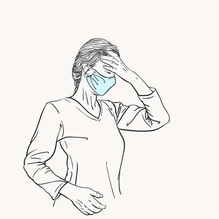 Sketch of woman in medical face mask has headache holding hand on her head closed eyes, coronavirus pandemic problem suffering, Hand drawn vector illustration isolated