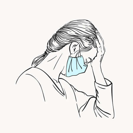 Sketch of young woman portrait in medical face mask has headache put forehead on hand, coronavirus pandemic depression problem suffering, Hand drawn vector linear illustration isolated