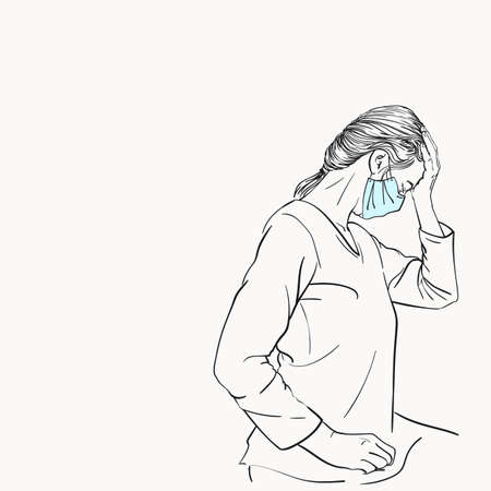 Sketch of woman in medical face mask has headache holding hand on her forehead closed eyes, coronavirus pandemic problem suffering, Hand drawn vector illustration isolated