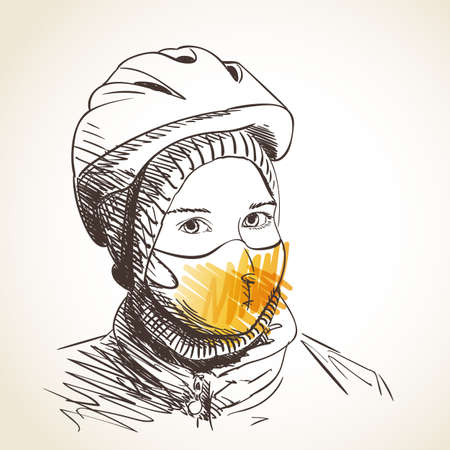 Sketch of teenage girl portrait in face mask for virus protection. In bicycle helmet wearing on hat looking straight, Vector hand drawn head illustration, New normal