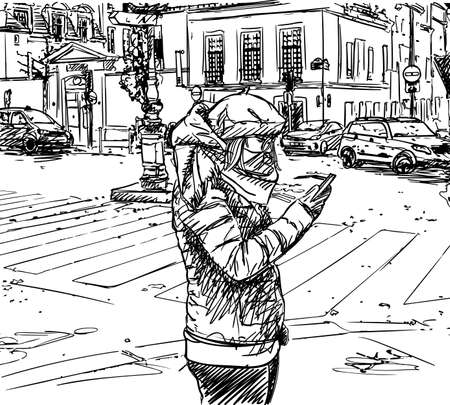 Casual girl in warm winter clothes stands in city on street at intersection and uses smartphone. Cityscape vector sketch, Paris hand drawn illustration