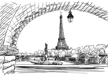 Eiffel tower view from Bir-Hakeim bridge Vector sketch, landmark of Paris, Hand drawn illustration black and white