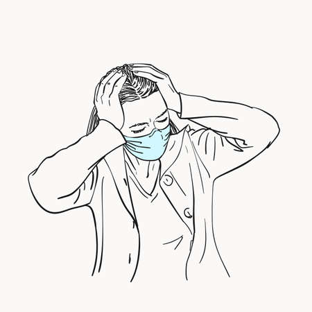 Sketch of young woman in medical face mask has headache holding hands on her head, coronavirus pandemic, Hand drawn vector linear illustration isolated black and white graphics