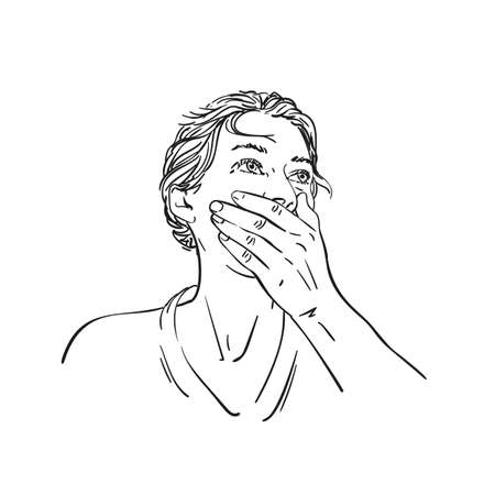 Young woman covered her mouth with her hand and looking up on side Vector sketch, Hand drawn line art female portrait with short hair, Black and white drawing graphics illustration