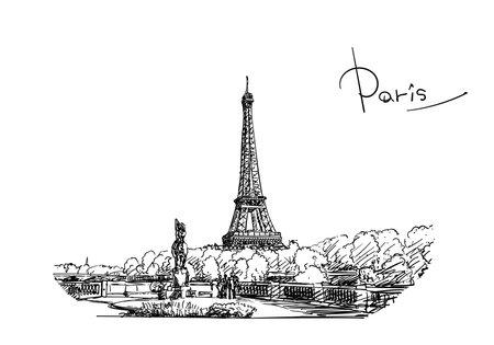 Eiffel Tower vector sketch, Hand drawn illustration black ink, landmark of Paris, France