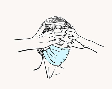 Sketch of young woman portrait in medical face mask has headache holding hands on her head temples, pandemic depression problem suffering, Hand drawn vector linear illustration isolated
