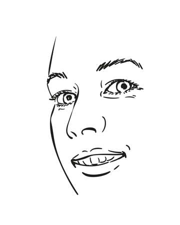 Face of happy smiling woman vector sketch, Hand drawn illustration isolated black and white Illustration