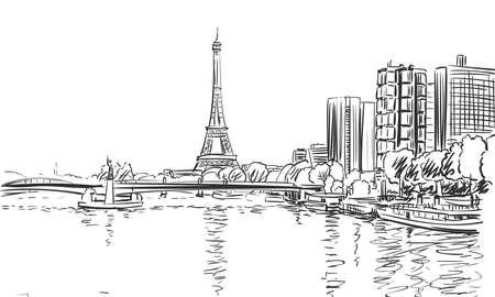 Eiffel Tower and river Seine cityscape vector sketch, landmark of Paris, Hand drawn illustration black and white Vettoriali