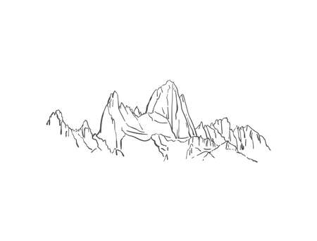 Linear sketch of Fitz Roy mountain in Patagonia, Hand drawn vector illustration Vektorgrafik