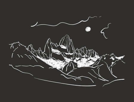 Linear sketch of Fitz Roy mountain massif in Patagonia in night with moon, Hand drawn vector illustration white lines