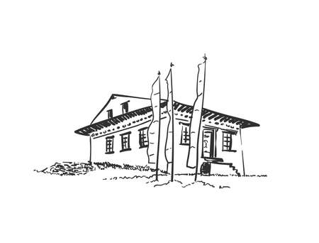 Sketch of small buddhist monastery with praying flags, Hand drawn vector linear illustration isolated. Nepal Himalayas