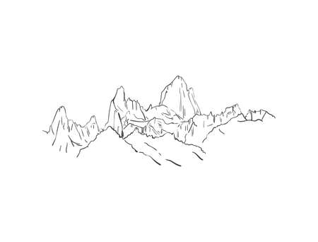 Linear sketch of Fitz Roy mountain massif in Patagonia, Hand drawn vector illustration