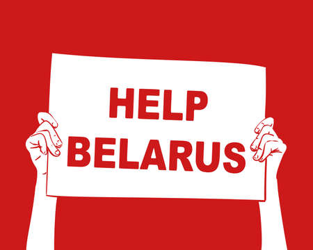 Help Belarus banner hands holding on red background. Protest after presidential elections 2020 in Belarus. Hand drawn vector illustration Illustration