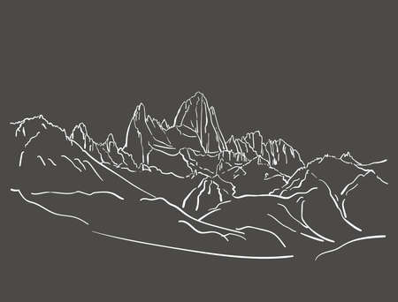 Linear sketch of Fitz Roy mountain massif in Patagonia, Hand drawn vector illustration white lines on grey