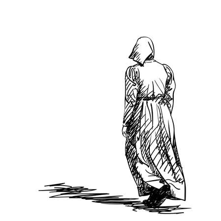 Drawing of a girl in old-fashion retro peasant dress walking away, back view, Woman in vintage rural clothes, Hand drawn Vector illustration