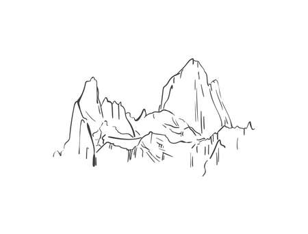 Linear sketch of Fitz Roy mountain in Patagonia, Hand drawn vector illustration