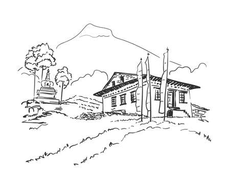 Sketch of small monastery with praying flags and small stupa surrounded by trees on background of mountains, Hand drawn vector linear illustration. Nepal Himalayas