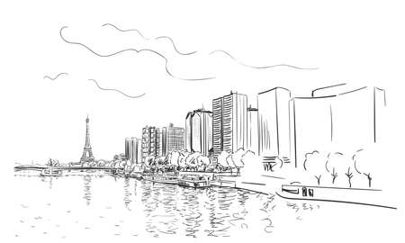 Paris Eiffel Tower and river Seine cityscape vector sketch, Hand drawn illustration black and white