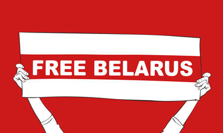 Free Belarus banner hands holding on red background. Protest after presidential elections 2020 in Belarus. Hand drawn vector illustration