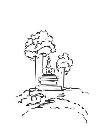Sketch of small buddhist stupa surrounded by trees, Hand drawn vector linear illustration isolated