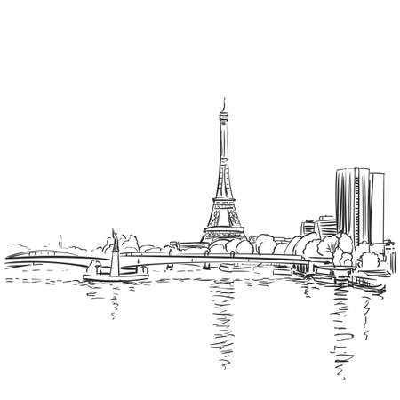 Eiffel Tower and river Seine vector sketch. Paris, France. Hand drawn vector illustration