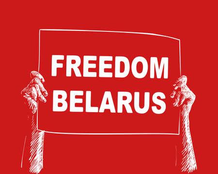 Freedom Belarus banner hands holding on red background. Protest after presidential elections 2020 in Belarus. Hand drawn illustration Vecor sketch Illustration