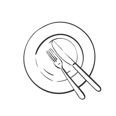 Fork and knife on empty plate, Vector linear sketch top view cutlery isolated, Kitchen dining utensils, Hand drawn black line on white background.