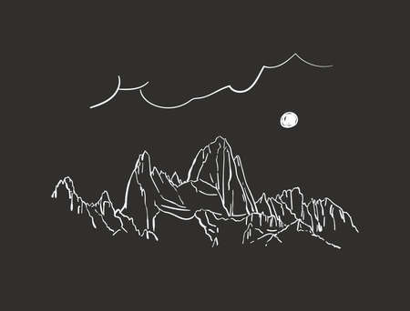 Linear sketch of Fitz Roy mountain in Patagonia in night with moon, Hand drawn vector illustration white lines