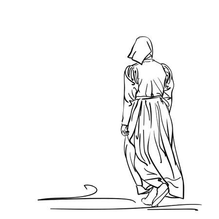 Drawing of a girl in old-fashion retro peasant dress walking away, back view, Woman in vintage rural clothes, Hand drawn Vector line art illustration