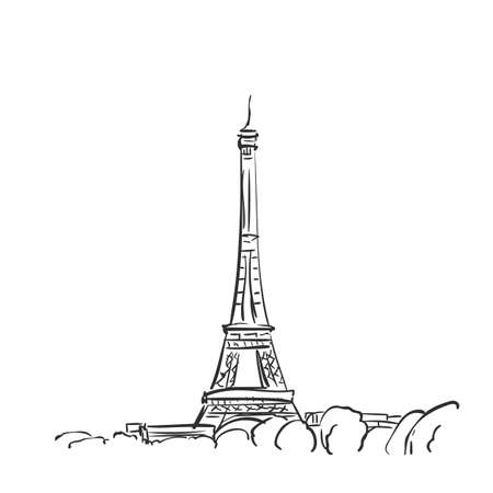 Eiffel Tower vector sketch, Simple hand drawn illustration isolated black ink, Paris, France