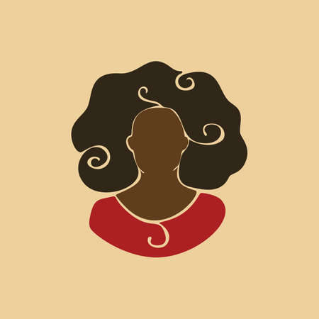 Abstract african woman portrait with curly hair. Afro black girl. Vector illustration silhouette drawing without face