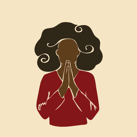 Abstract african woman praying with hands folded in worship. Afro black skin girl curly hair. Vector illustration silhouette drawing without face Vektorgrafik