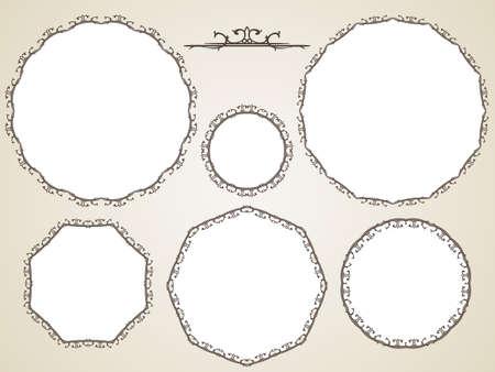 Ornamental calligraphic round frame, Vector set